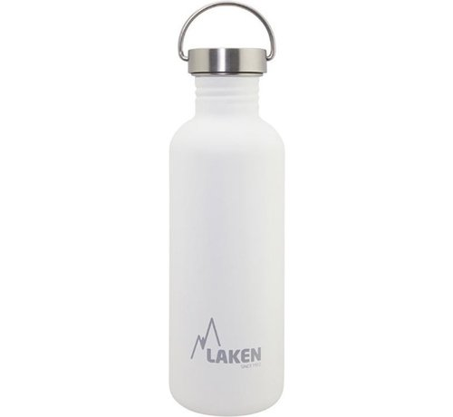 Laken RVS fles Basic Steel Bottle 1L S/S Cap - Wit