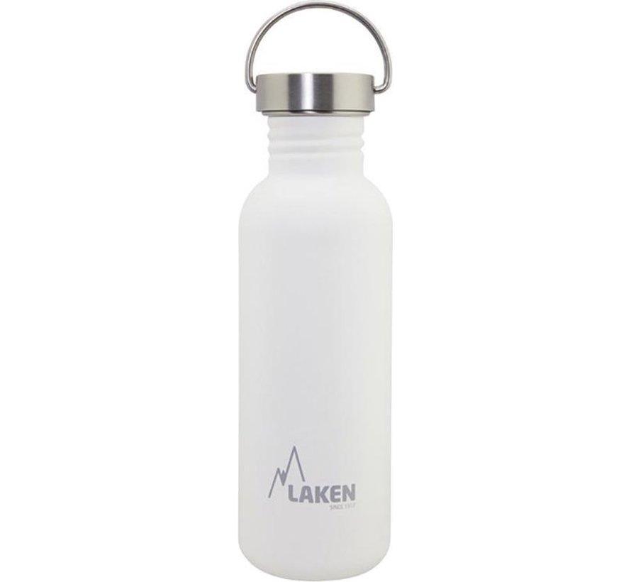 RVS fles Basic Steel Bottle 750ml S/S Cap - Wit