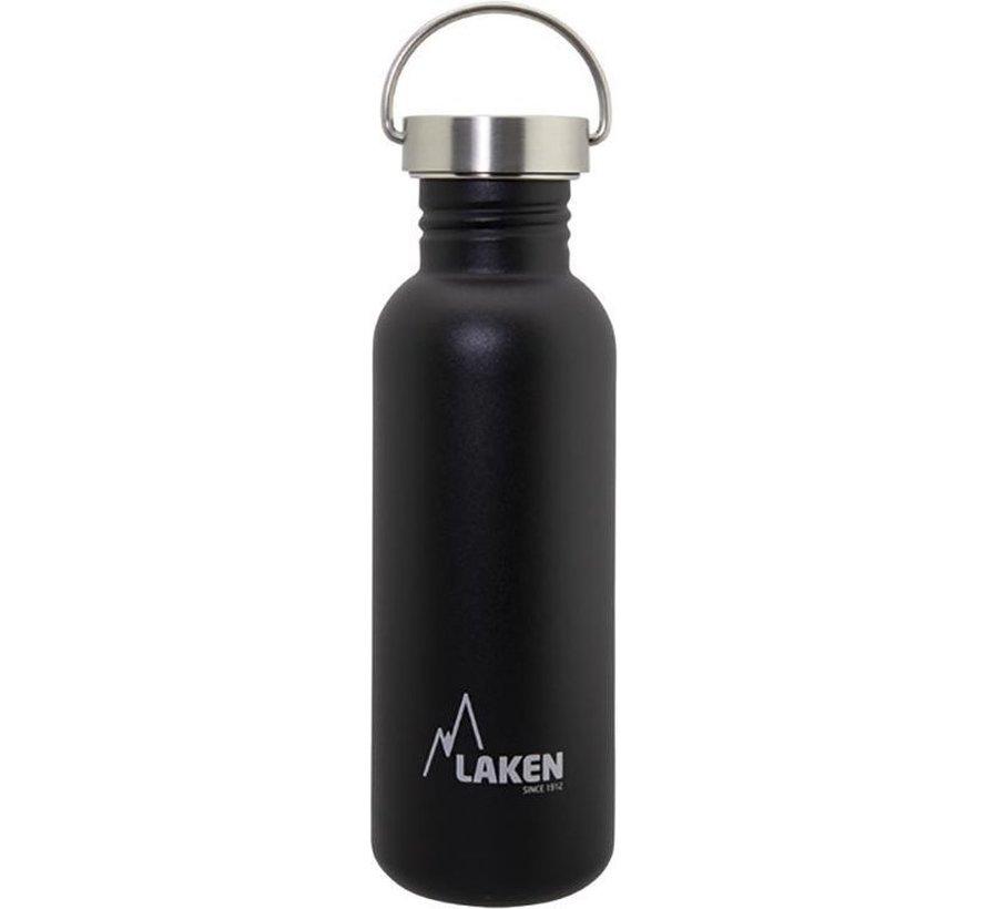 RVS fles Basic Steel Bottle 750ml S/S Cap - Zwart