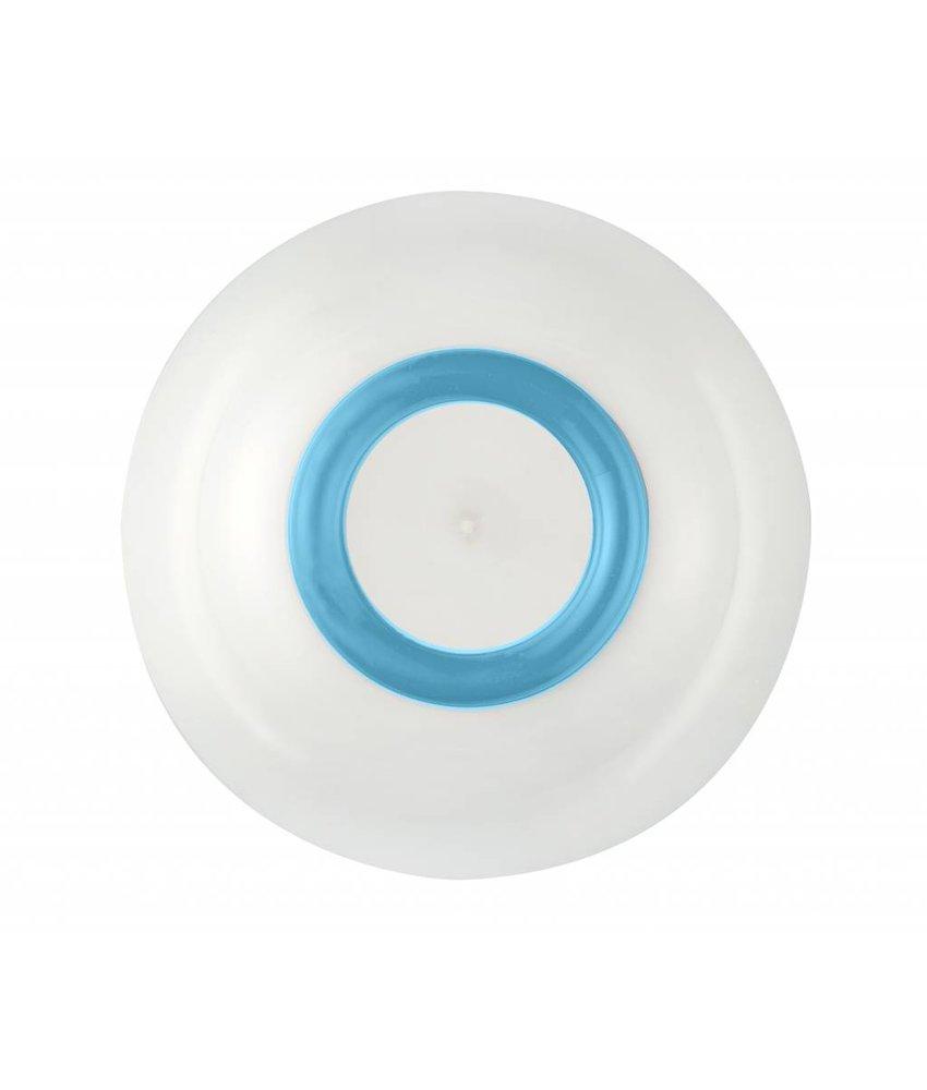 Schaaltje / Kom - Uniek en onbreekbaar ( 15 cm ) Palm - materiaal: Sorona - Warm Wit met antislip rand in: Lichtblauw / Vivid