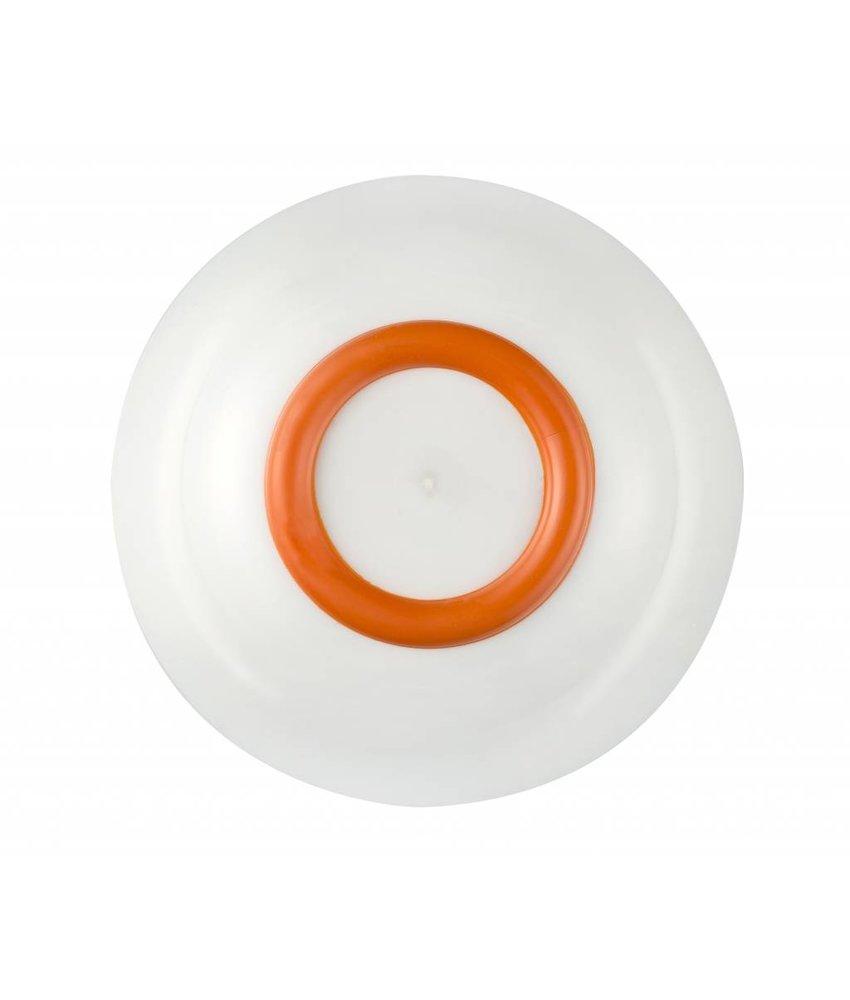 Schaaltje / Kom - Uniek en onbreekbaar ( 15 cm ) Palm - materiaal: Sorona - Warm Wit met antislip rand in: Oranje