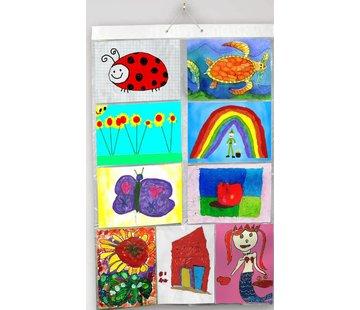Insteekhoes Poster Kunst | kinderwerkjes 18 A4's in 9 insteekvakken [65.5 cm br x  98 cm h]