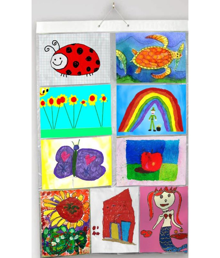 Insteekhoes Poster Kunst- / kinderwerkjes voor 18 A4's in 9 insteekvakken ( maat 65.5 cm br. en 98 cm h. )