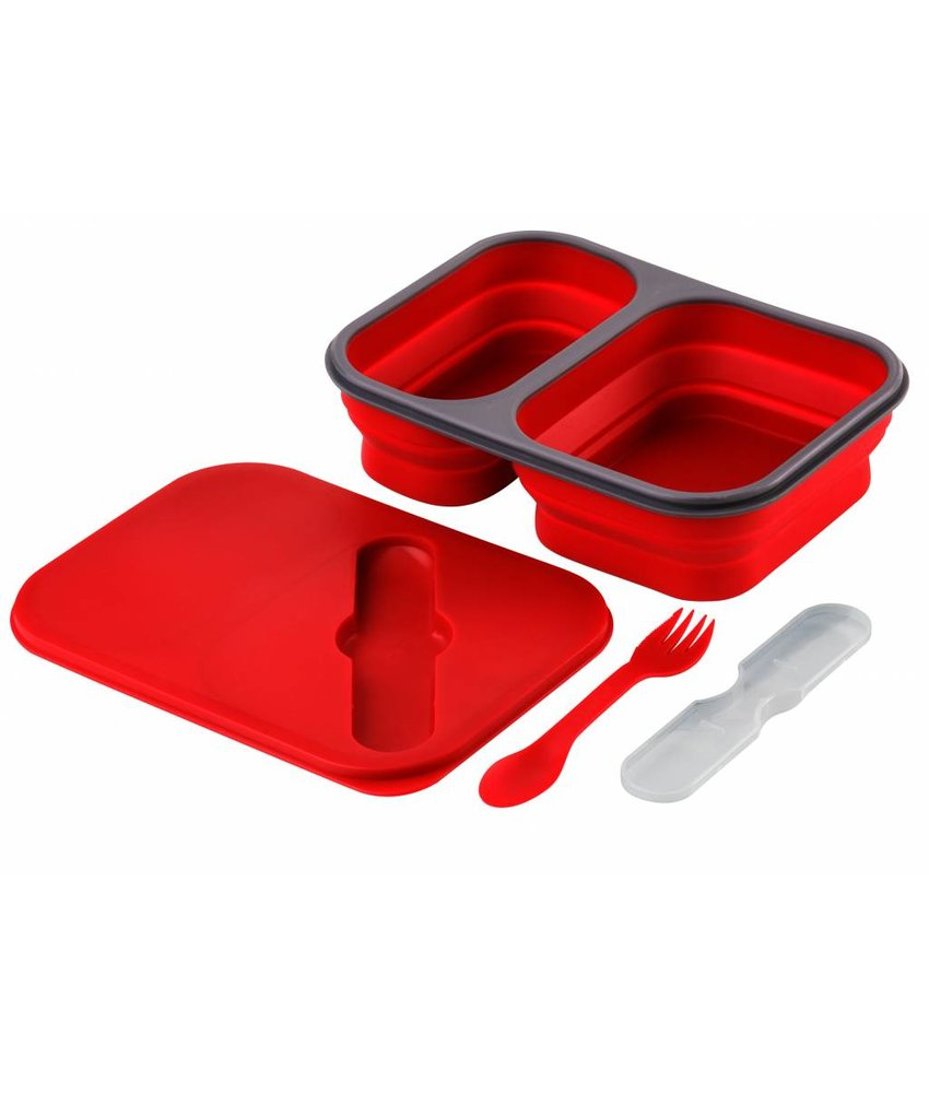 Opvouwbare Siliconen Lunchbox Large - Rood