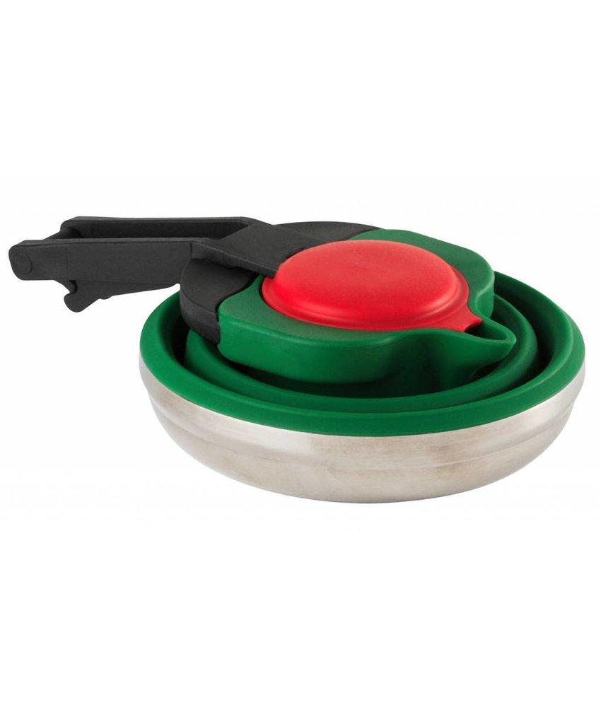 Opvouwbare Waterketel 1.1 L. siliconen / rvs - Groen - Duurzaam