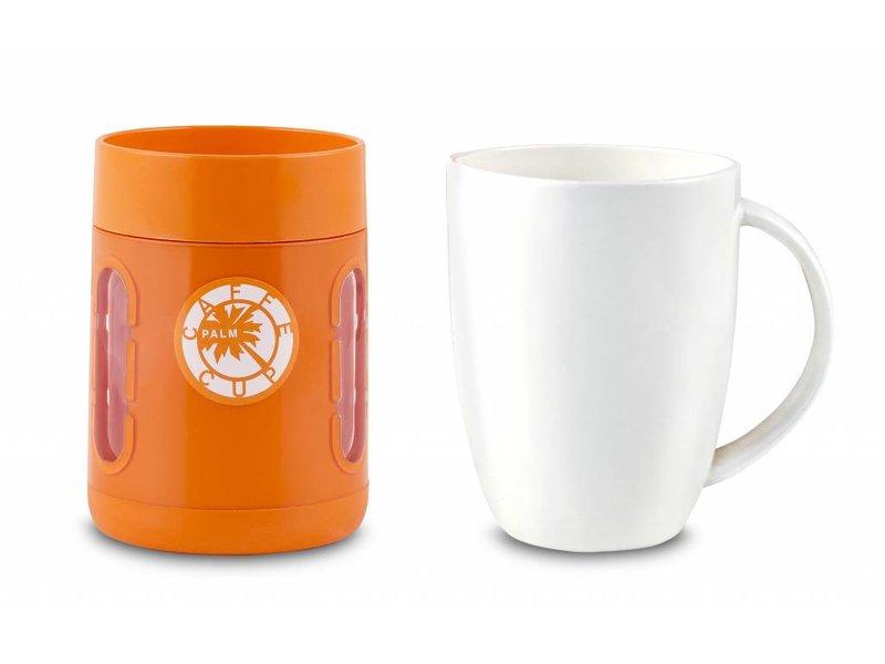 Koffie Mok - Koffie beker - Koffie beker to go -  Antislip bodem - Kijkvensters - Kleur: ORANJE
