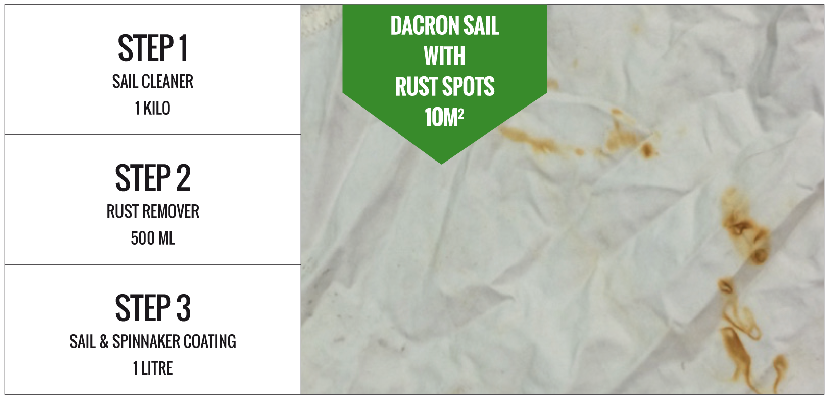 Required Dacron sail with rust spots 10m2