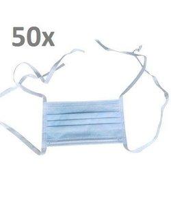 Mondkapjes Tie-On bandjes 3 laags - 50 stuks
