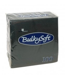 servetten zwart 24x24 2 laags per omdoos 30x100 st.