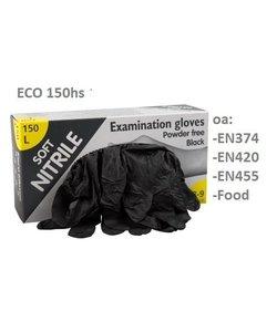 soft nitril zwarte handschoenen poedervrij 150 st