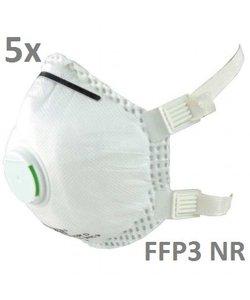 Mondmasker FFP3 NR ventiel per doosje a 5 st