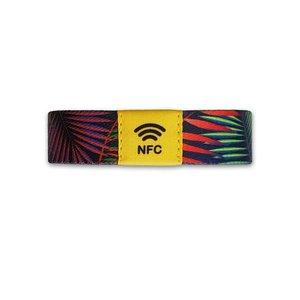 NFC Event-polsband. Bedrukt elastisch textiel, NXP NTAG213