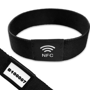 NFC Event-polsband. Bedrukt elastisch textiel, NXP NTAG213 + Volgnummer