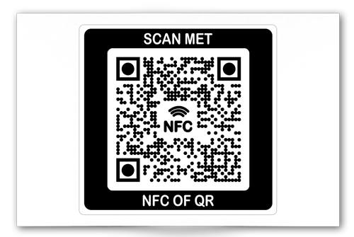 Voorbeeld visitekaartjes-sticker op de achterzijde van een visitekaartje...