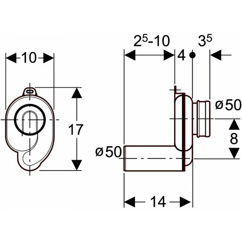 geberit plastic (PE) horizontal p-trap