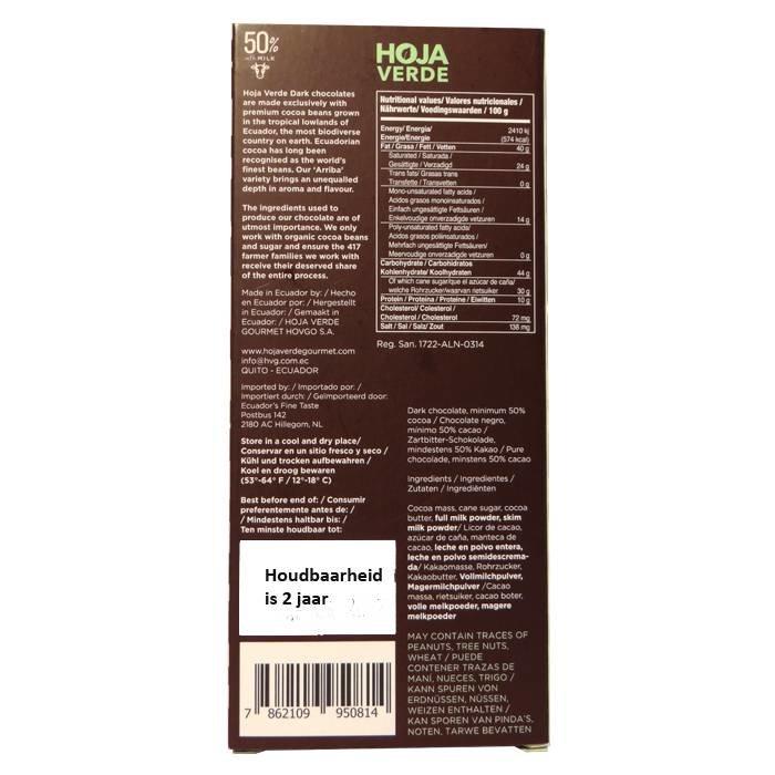 50% Donkere melkchocolade, 50 g, Ecuador