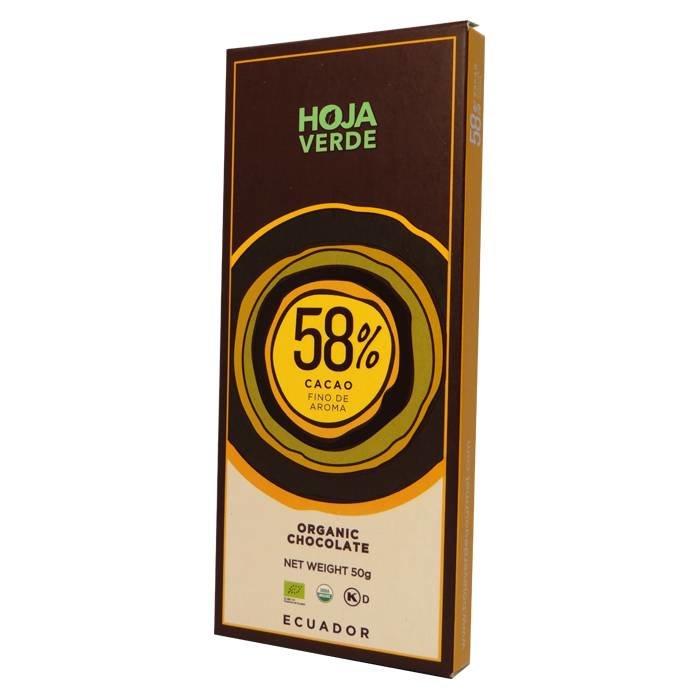 58% Pure chocolade, BIO, Kosher, 50 g
