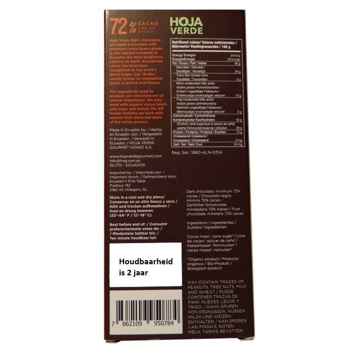 72% Pure chocolade, BIO, Kosher, Ecuador, 50 g