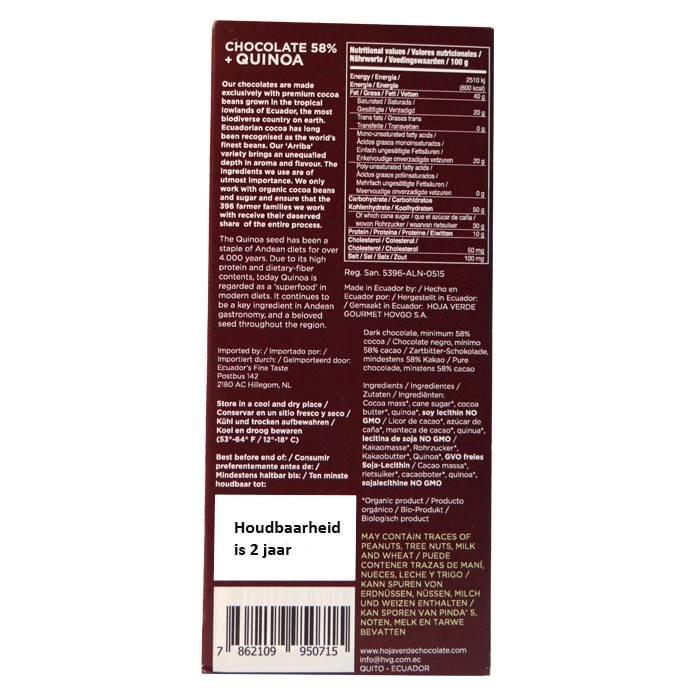 58% Pure chocolade met quinoa, BIO, Kosher, Ecuador, 50 g