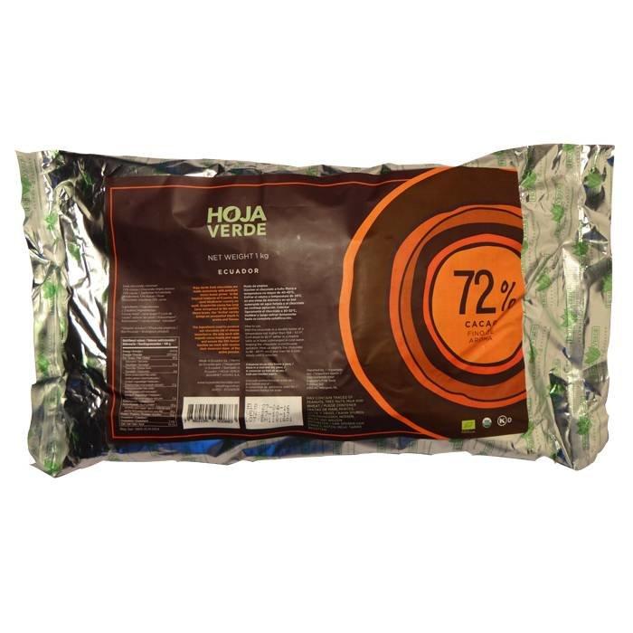 Couverture, 72% pure chocolade, BIO, Kosher, Ecuador, 1 kg