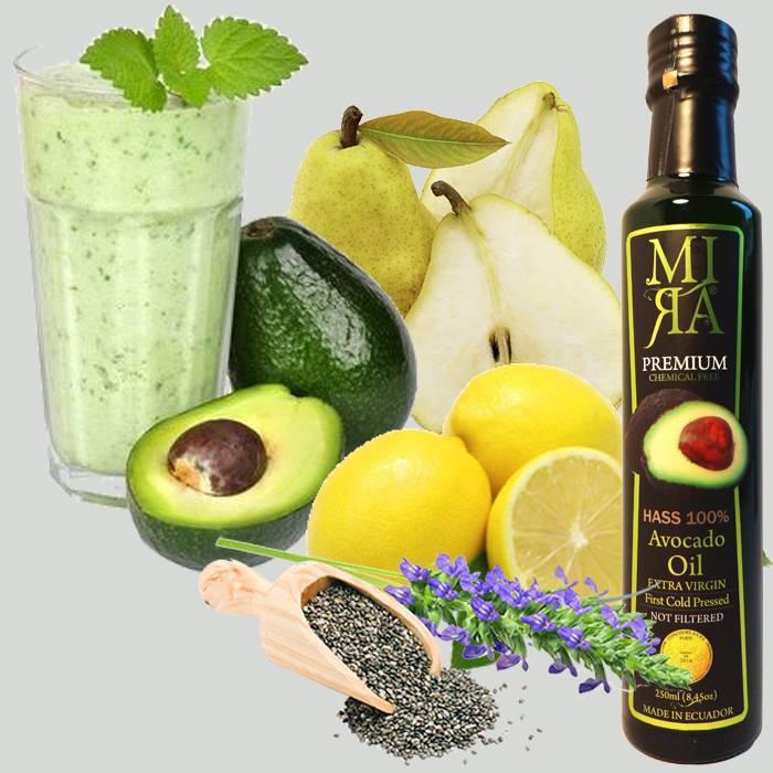 Smoothie met avocado, citroen, peer, chia en MIRA avocado olie