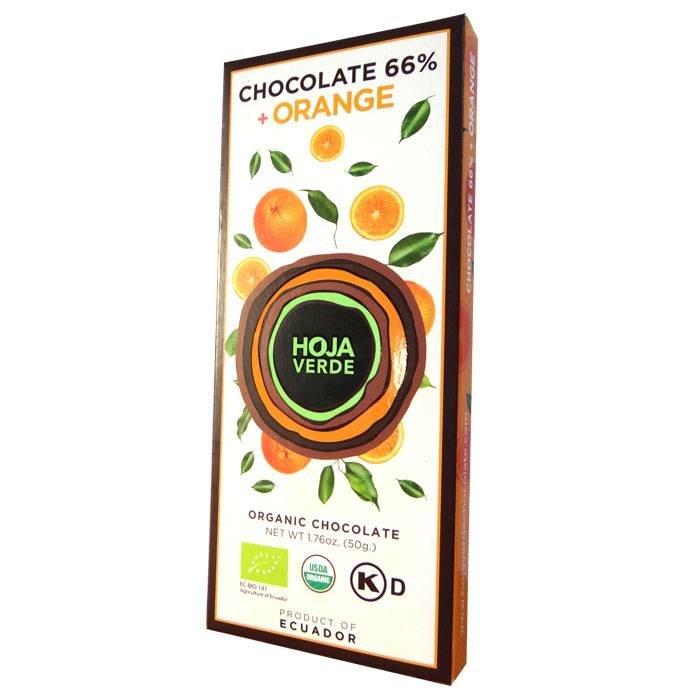 66% pure chocolade met sinaasappel, BIO, Kosher, Ecuador, 50 g