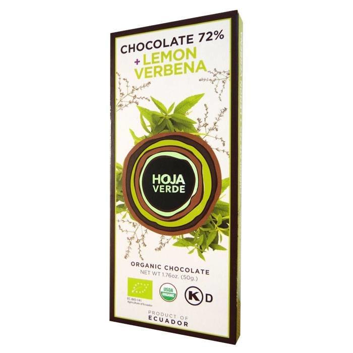 72% pure chocolade met citroenverbena, BIO, 50 g