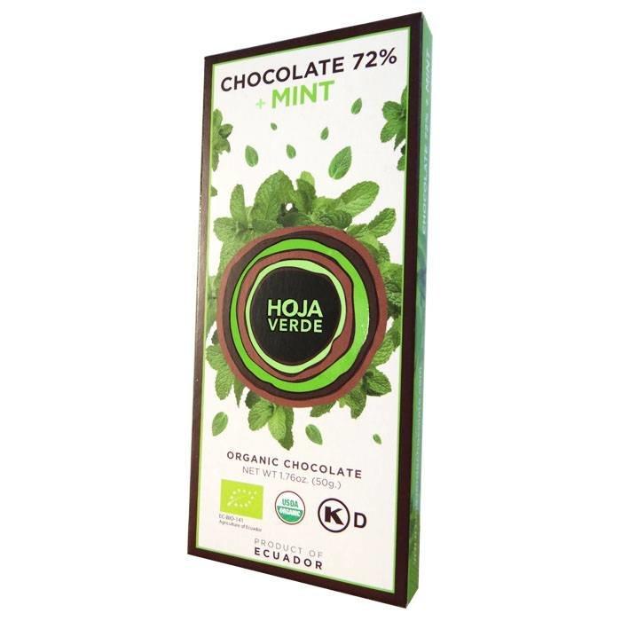 72% pure chocolade met munt, BIO, 50 g