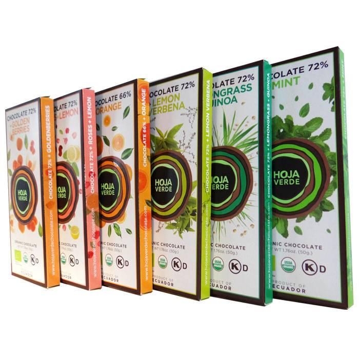 Nieuwe smaken repen Hoja Verde chocolade