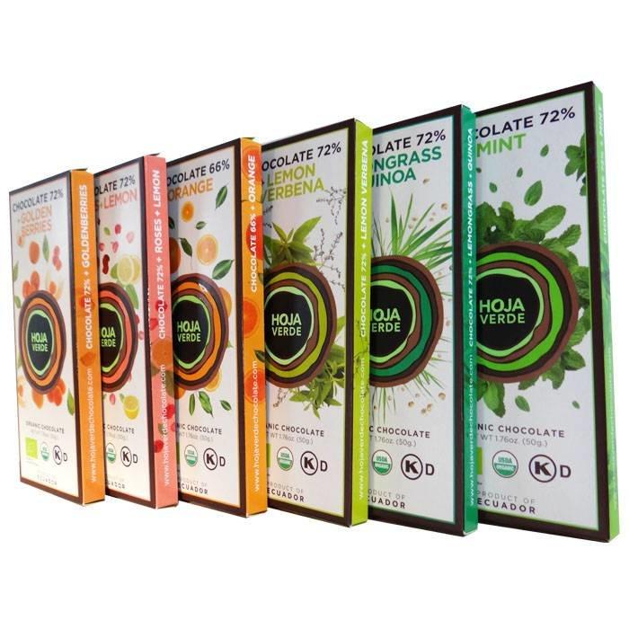 Pakket 6 nieuwe smaken repen, BIO, Kosher, Ecuador, 300 g