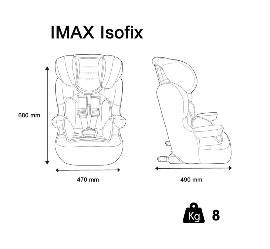 ISOFIX Kinderautositz I-Max Luxe Pink - Gruppe 1/2/3 (9-36 KG)