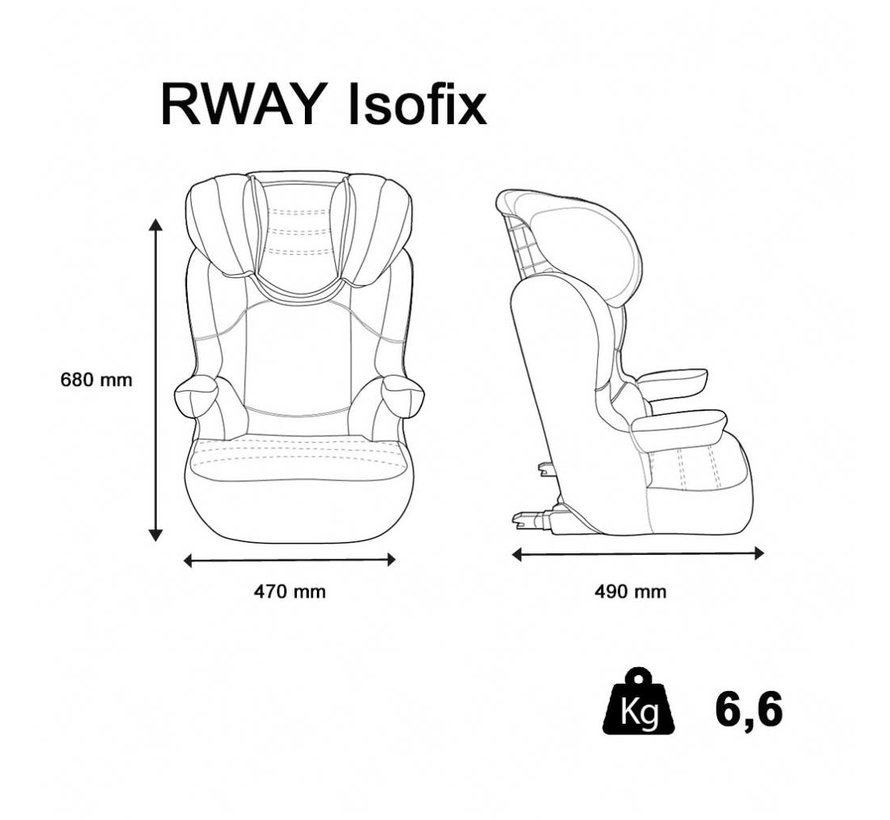 Isofix autositze R-Way - Kindersitze Gruppe 2 und 3 - schwarz, grau
