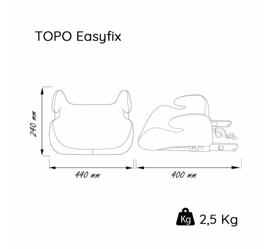Isofix booster - TOPO easyfix - Group 3 - Black/Grey