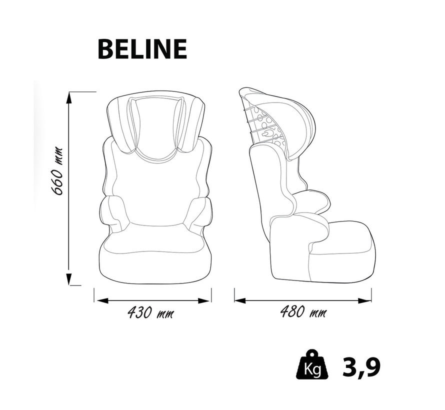 Highback Booster Beline - Group 1/2/3 - 9 to 36 kg - Animals Flamingo