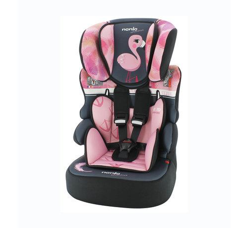 Nania Highback Booster Beline - Group 1/2/3 - 9 to 36 kg - Animals Flamingo