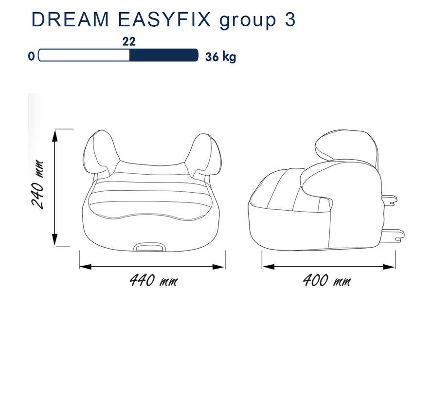 Isofix zitverhoger - DREAM easyfix - Groep 3 - Zwart/Grijs