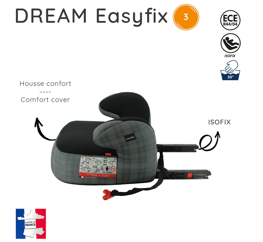 Isofix booster - DREAM easyfix - Group 3 - Black/Grey