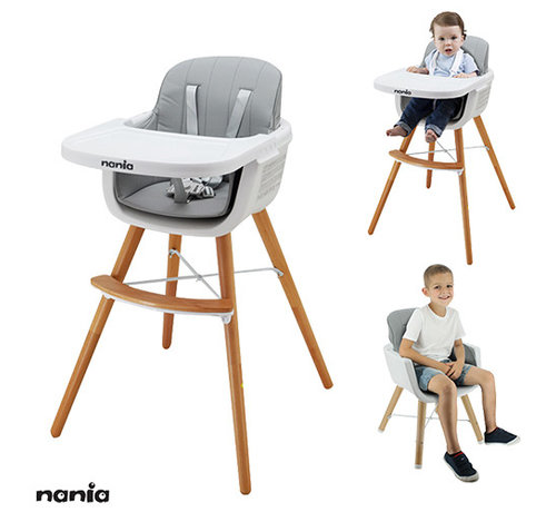 Nania Luna Highchair - 2 in 1 - High chair - White, Grey - from 6 months onwards