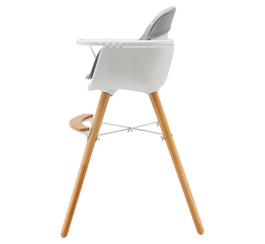 Luna Highchair - 2 in 1 - High chair - White, Grey - from 6 months onwards