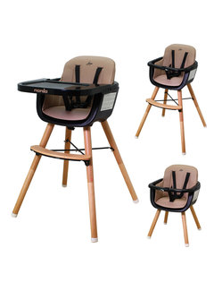 Nania Luna Highchair - 2 in 1 - High chair - Camel, black - from 6 months onwards