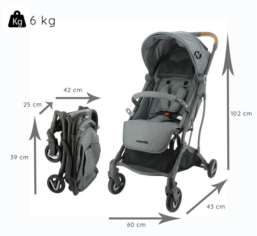 Cassy - Kinderwagen - 6 tot 36 maanden - Licht en wendbaar - Grijs
