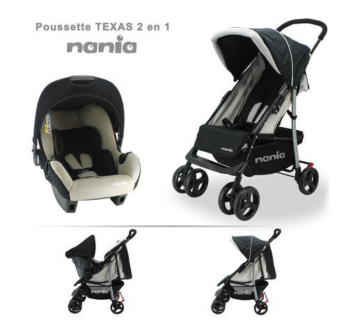 Nania Texas 2 in 1 Kinderwagen - Snel opvouwbare wandelwagen - Inclusief groep 0+ autostoel
