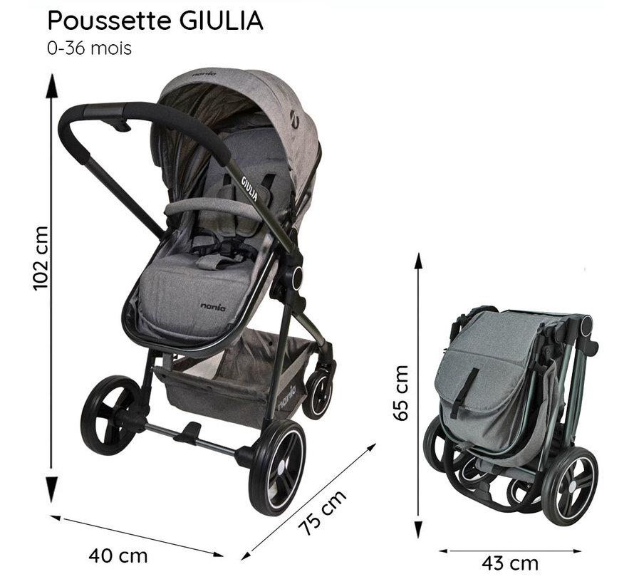 GIULIA 3 in 1 Combi Wandelwagen - BEONE Autostoel (grp 0+) 4 sterren ANWB - Luiertas en regenhoes