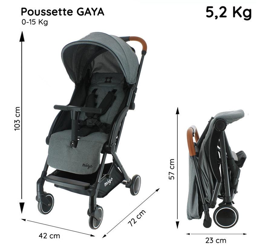 GAYA Kinderwagen - 0 tot 36 maanden - Licht en wendbaar - Grijs