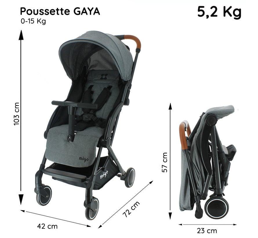 GAYA Pram - 0 to 36 months - Light and manoeuvrable - Grey