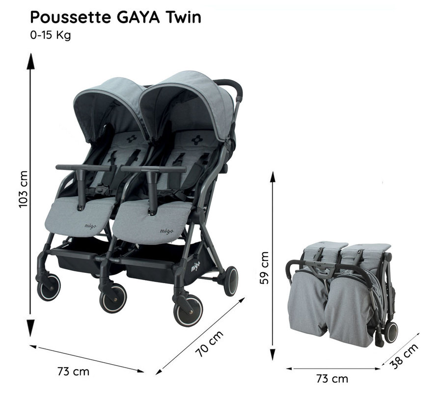 GAYA TWIN - Duo pram - from 0 to 36 months