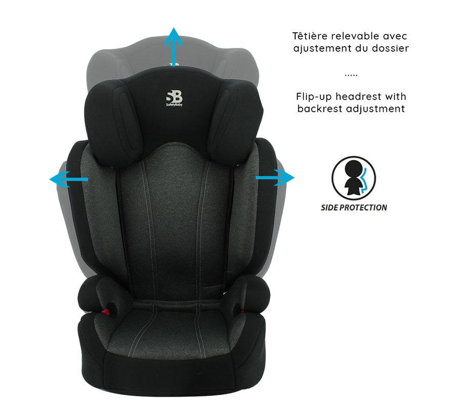 isofix Autositz Flas - Gruppe 2/3 - 15 bis 36 kg - Grau