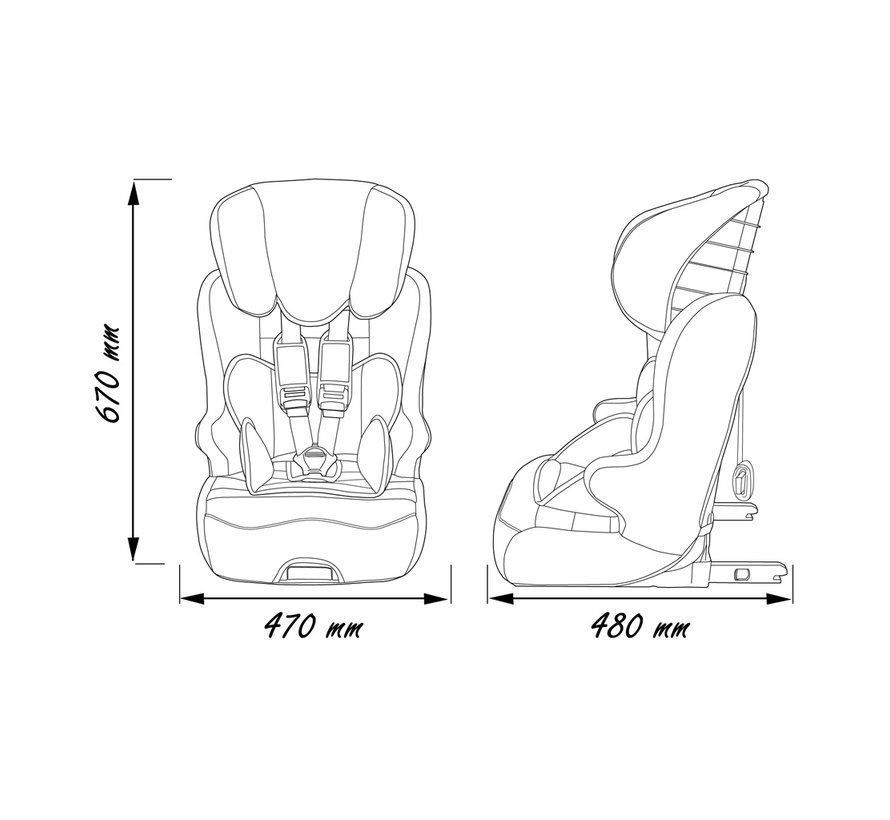 Racer ISOFIX Victoria - Highback booster Group 1 2 3 - From 9 to 36 kg