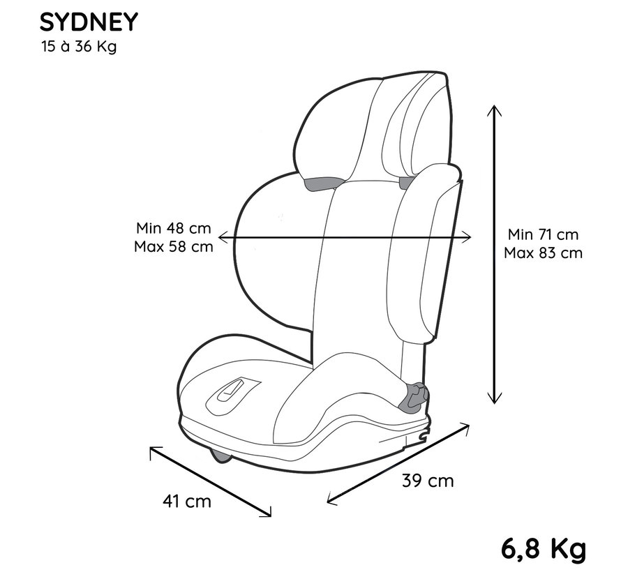 isofix booster seat Sydney - group 2/3 - 15 to 36 kg  - Grey