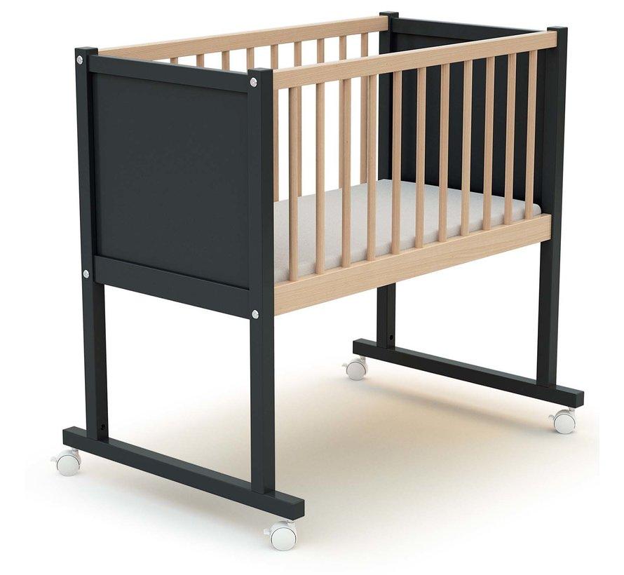 Cradle comfort - 40 x 80 cm - cot - Graphite-grey and beech